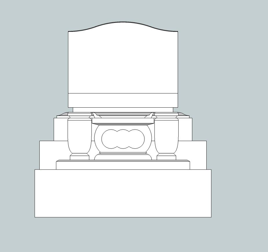 3.7×4.2横型墓地正面図