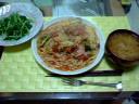 キャベツトマトスパと水菜サラダ